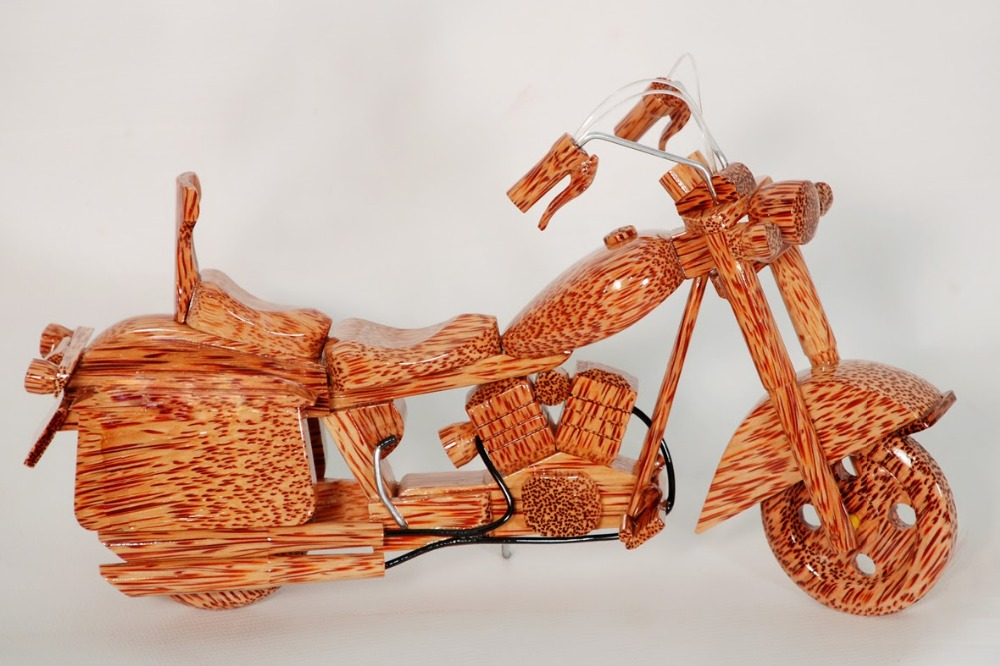 Model of coconut wood motorcycle