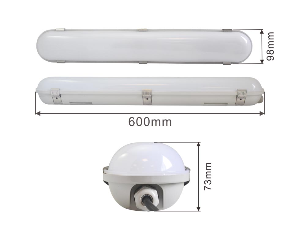 china supplier waterproof dustproof LED tri-proof light IP65 18W 600mm 4000K led tubes light for factory warehouse metro garage