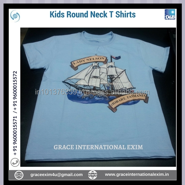 Boat Design Printed Round Neck Kids T Shirts