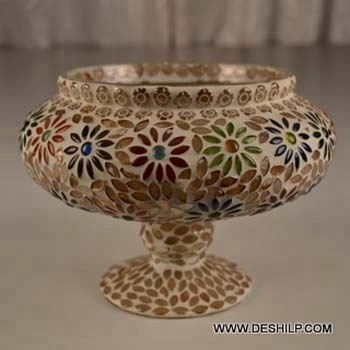 FLOWER HURRICANE VASE ,MOSAIC VASE, GLASS FLOWER POT