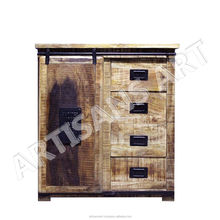 Vintage Industrial India Wood Exotic with Sliding Door Home Cabinet Manufacturers and Suppliers, Office Industrial Furniture