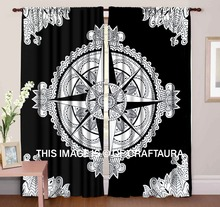 Black & White Star Medallian Mandala Curtains Window Treatment Indian Drapery Bohemian 2 Panel Set Hippie Valances Handmade