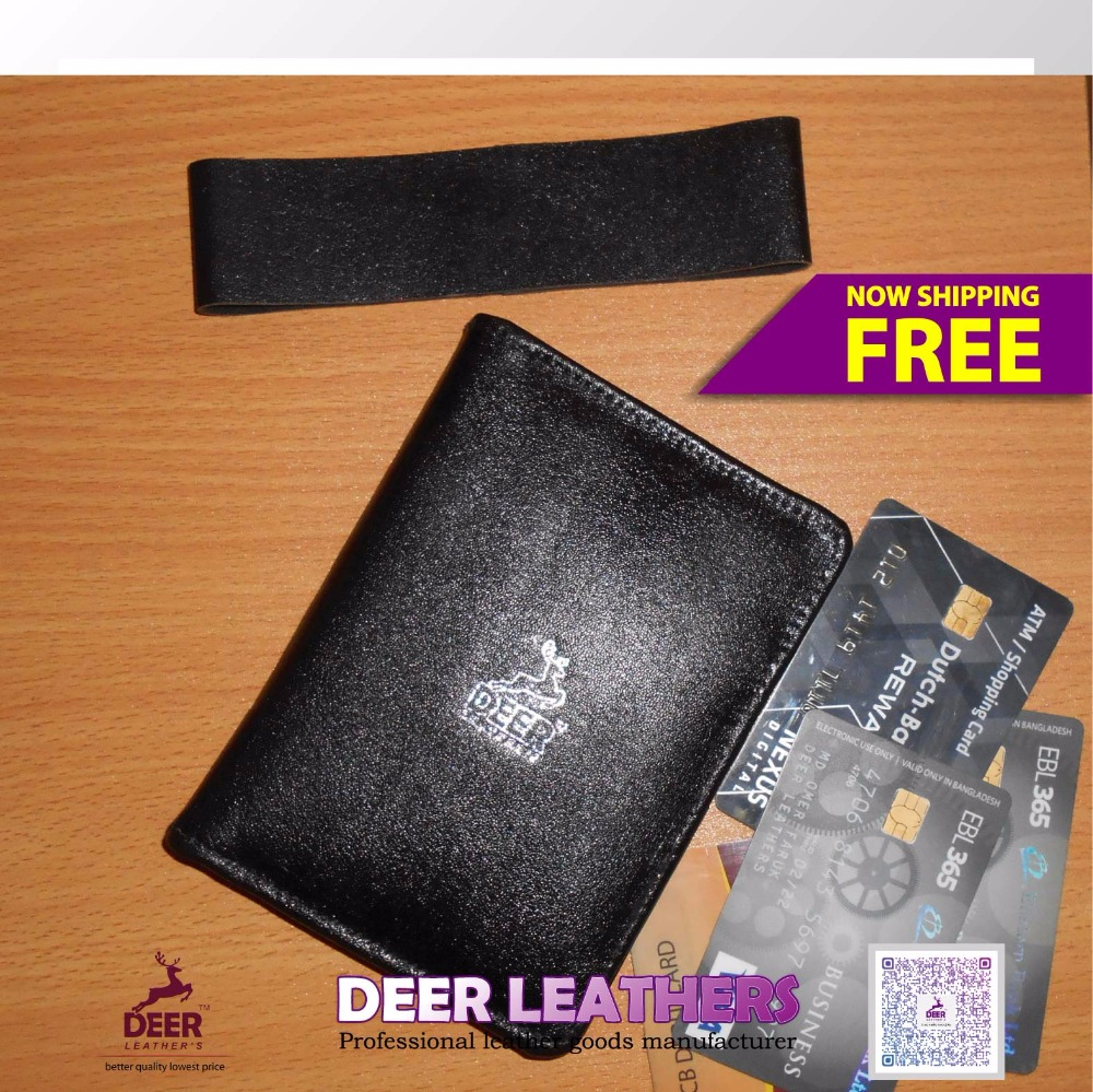 Black RFID leather passport card holder, wholesale men leather passport cover
