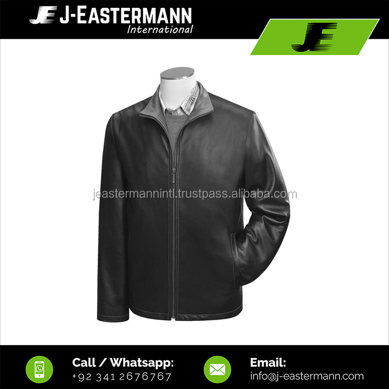 Mens Straight Front Zip Leather Jacket For Men, Black Cheap Price Straight Leather Coat with Front Zip Closure