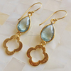 Blue Topaz Quartz Gemstone Earrings In 925 Sterling Silver Beautiful Handmade Designer Gold Plated Jewelry