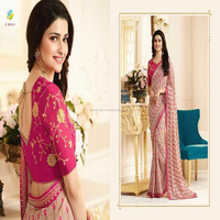 Pretty Pink color Georgette Embroidery Fancy Saree