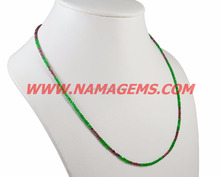 Green Color Beads And Red GARNET Stone 2-3 mm Rondelle Faceted Beaded, Semi Precious Stone Choker Necklace