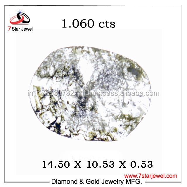 Transparent Diamond 1 carat up Gray Slice Flat Rose Cut Natural Diamond