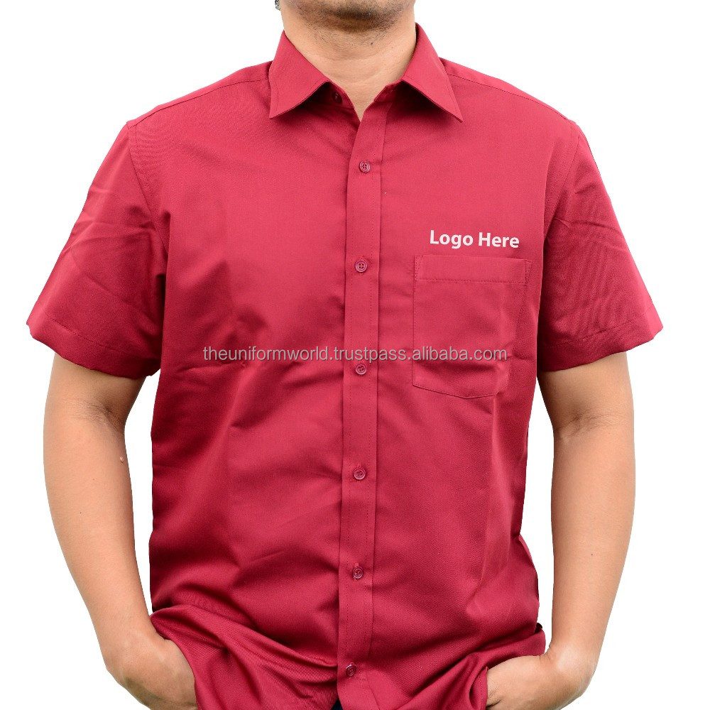 Plain Work Wear Short Sleeve Shirt Maroon Poly Cotton Uniforms Work Wear Manufacturer in Dubai UAE