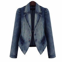 Women Denim Jacket Autumn Winter Vintage Oversize Loose Female Jeans Coat Solid Slim