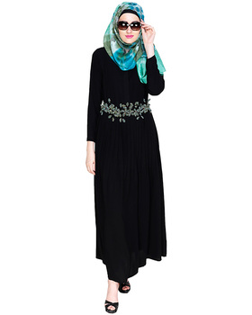 Dubai Black With Green Belt Abaya Muslim Dress