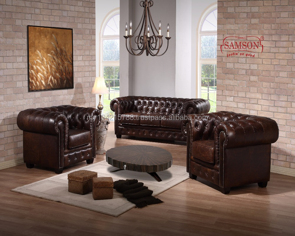 English Premium Chesterfield Leather Sofa