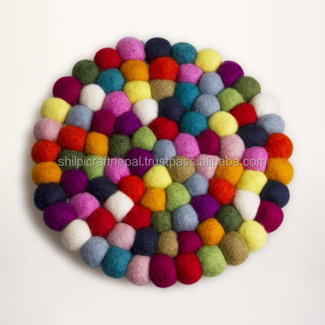 Felt Ball Trivet/Felt Ball Coaster 100 percent Wool Hand Made In Nepal-Custom Designs-Manufacturer-Wholeseller