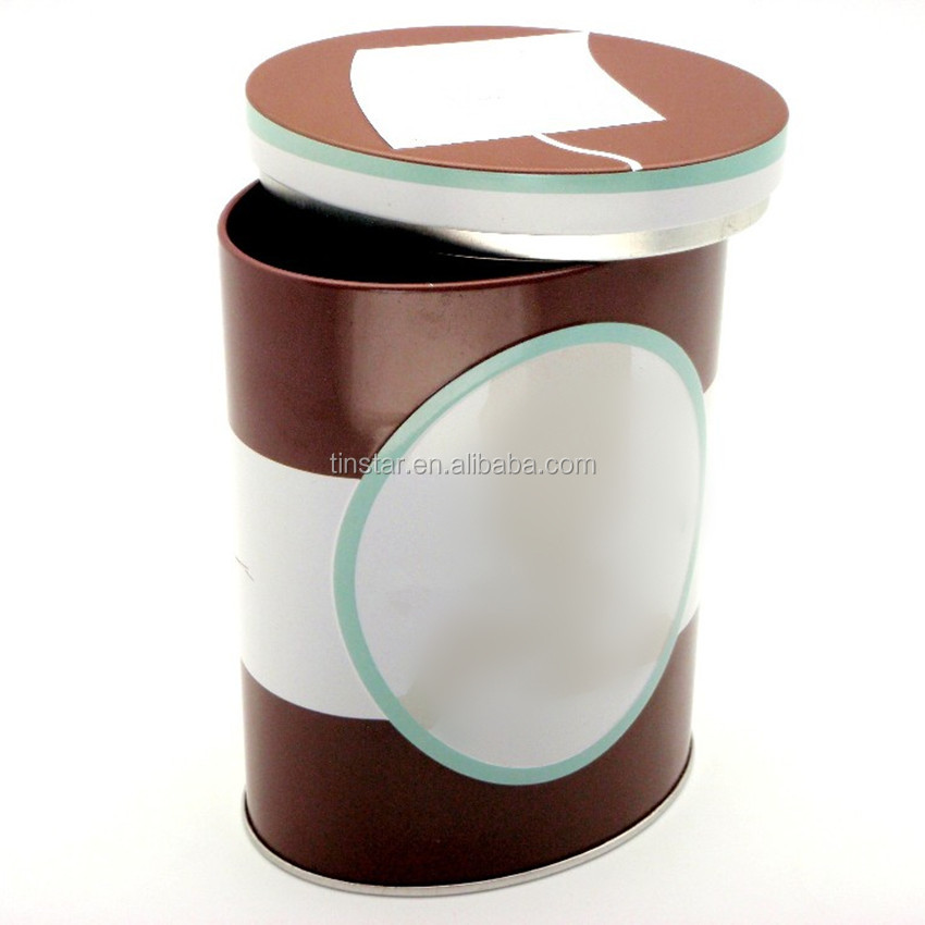 Oval shape coffee tin for packaging