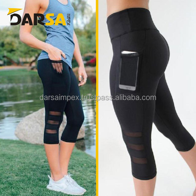 Wholesale women compression yoga tights custom fitness gym leggings for women with phone pocket