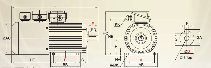 GO FUKUTA high performance , Light weight type inverter induction power motor VM Series , iron-casting frame foot mounted