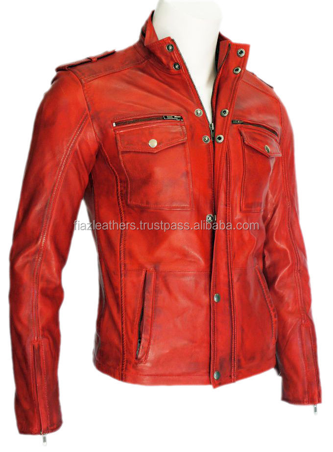 Justin Mens 5540 Gents Red Designer Sheep Nappa Soft Lambskin Leather Jacket