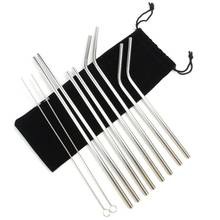 Stainless Steel Straw with cleaning brush and pouch bag, 4+2 set Straight and Bent Stainless Steel Drinking Straw