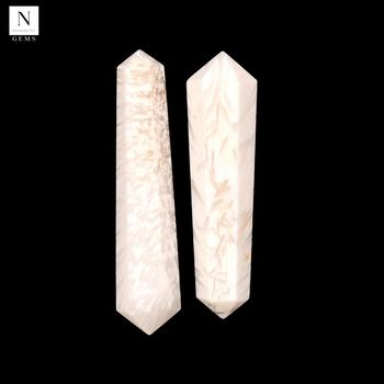 Natural healing crystal tower stones 45x12mm faceted double pencil pointed white selenite gemstone points