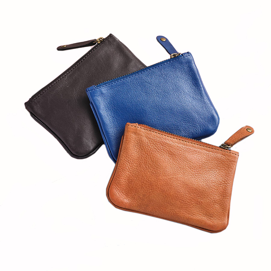 Coin Purse Pouch Women's Leather Zipper Change Holder Slim Wallet