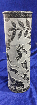 Black Marble Flower Vase Handmade Design Art