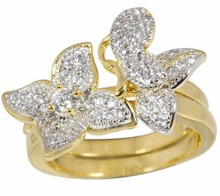 Latest Fancy Ladies Gold Finger flower design cubic zirconia Ring For Women fashion jewelry