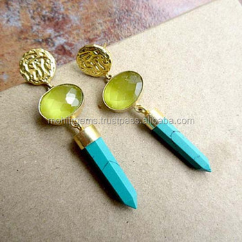 Yellow Crystal and Blue Turquoise Pencil Earrings, Gemstone Bar Earrings, Statement Earrings