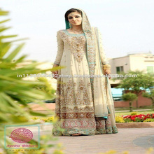 Cream Pakistani bridal lehenga dress