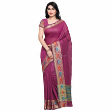 2017 New Design Purple Color Cotton Silk Jacquard Women Saree