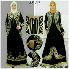 New Beautiful Arabic Black Gold Abaya Jalabiya Maxi Dress