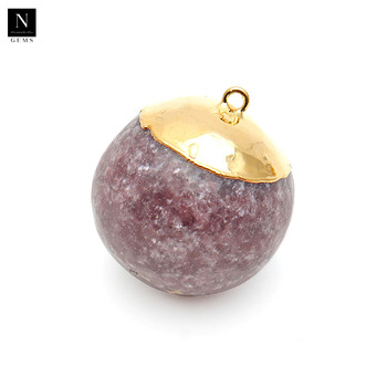Gemstone round pendant 25x28mm single bail gold edged healing natural lepidolite ball connector