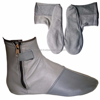 Gray Leather Socks Genuine Size Islamic Muslim Pray Shoes Kuffain Unisex