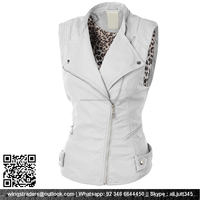 leather vest lined with leopard print lining , Custom Your Own Design White Leather Vest