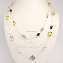 2017 Bulk sterling silver Jewelry Supplier Natural MULTI COLOR STONES Gemstone BEZAL Necklace 40 cm, 50, 60, 75, 90 cm