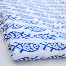 Wholesale hand block fish printed cotton fabric dress sewing clothing material