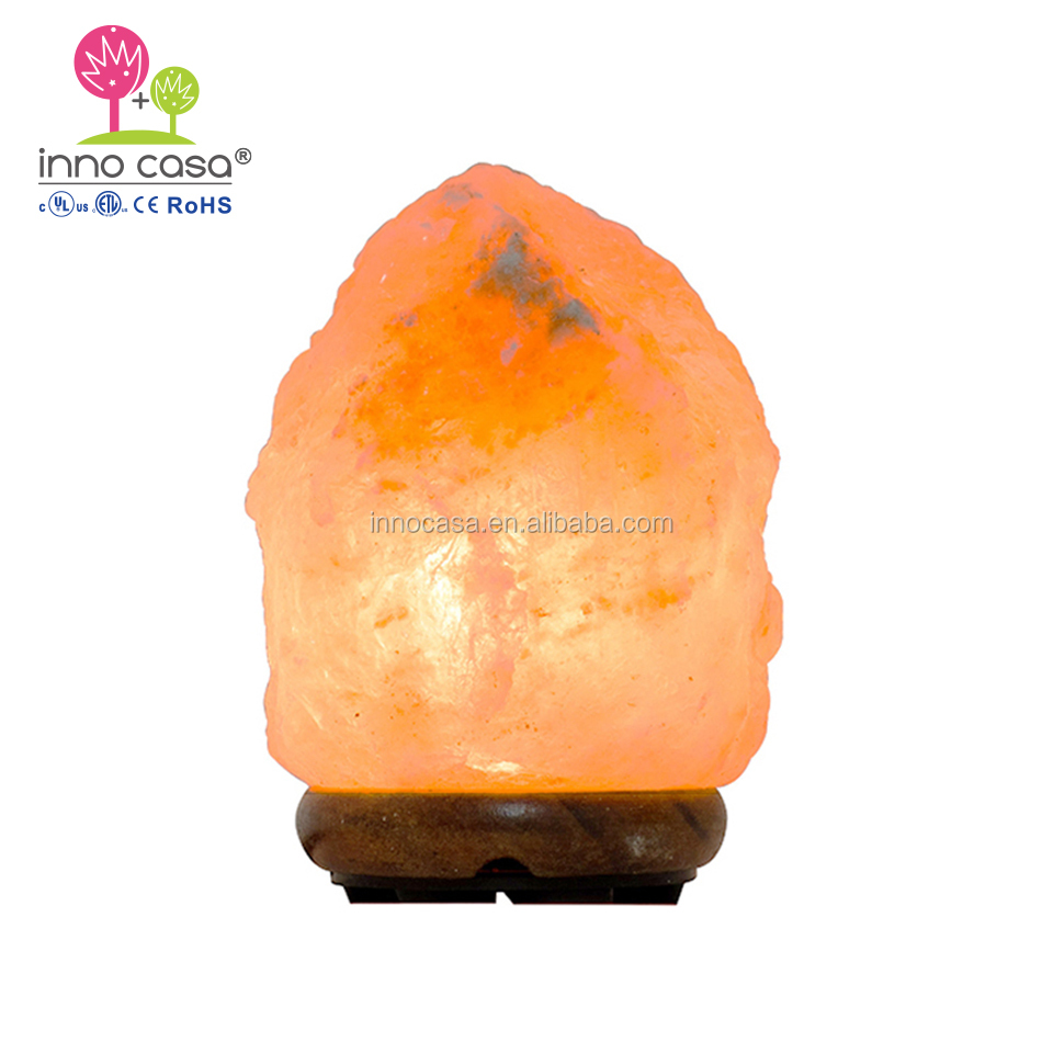Handcrafted Himalayan Salt Lamp with Wooden Base and Natural Pink Rock for Air Purifying