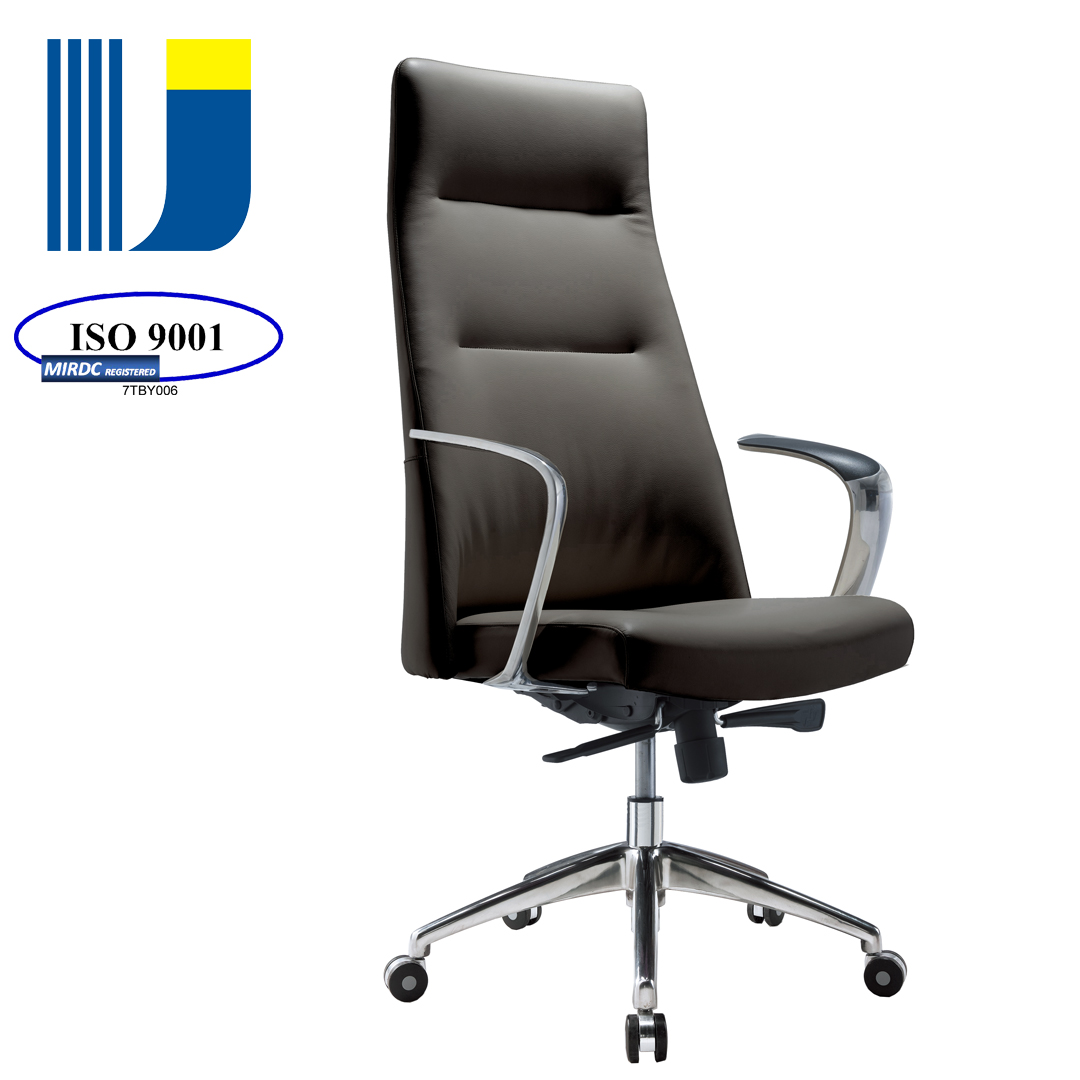 Office furniture design executive aluminum armrest leather padded office chair 802AX