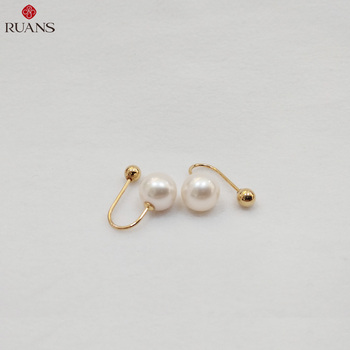 Trendy 18K Yellow Gold White Freshwater Pearl Earring