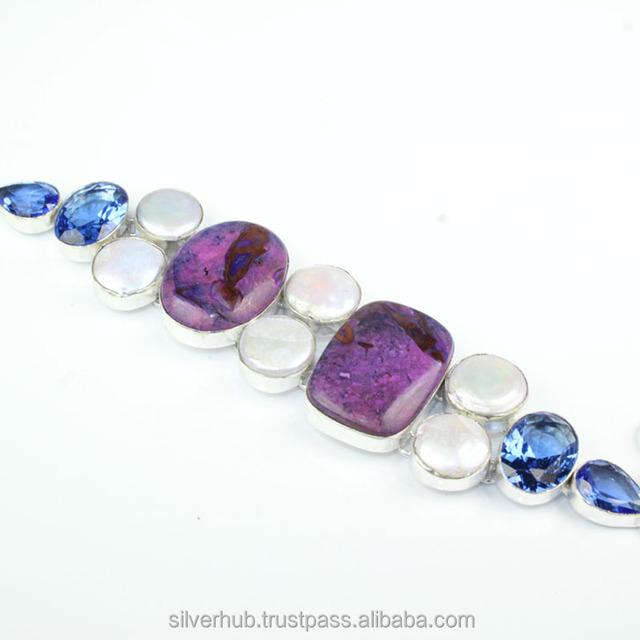 Unique 925 Sterling Silver Overlay Purple Charoite Viva Pearl Blue Topaz Handmade Fashion Bracelet Jewelry