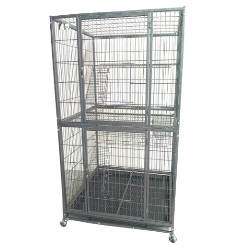 2 Level Big Stainless Steel Portable Cat Cage