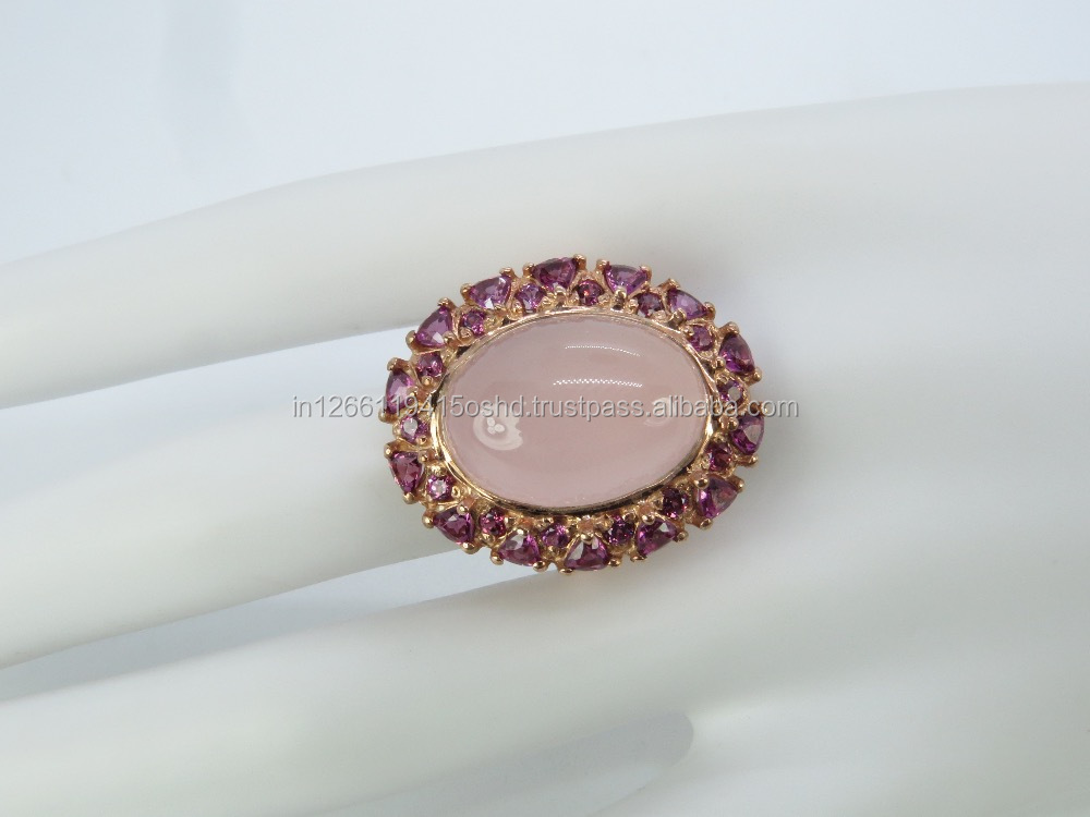2017 wholesale Rose gold plated 925 sterling silver rose quartz ring with CZ pave setting,rose quartz ring