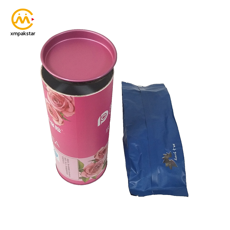 China supplier customized printed round cylinder kraft paper tube box for tea packaging