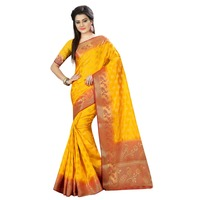Indian Designer Bollywood saree for women Yellow Nylon Banarasi Art Silk Saree