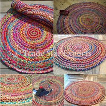 Braided round area carpets and rugs Indian cotton dhurrie carpet natural jute rag rug