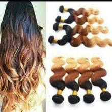 Ombre Weft Human Hair Extension Brazilian Body Weave Cheap Brazilian Virgin, Cuticle Aligned hair
