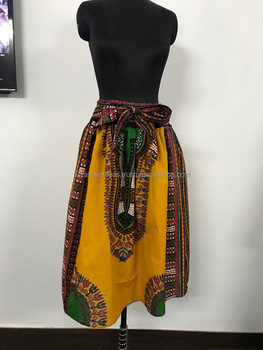 Dashiki Short Skirt African Maxi Skirt Smoked elastic Skirt