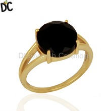 Handmade Black Onyx Gemstone Rings 18K Gold Plated Silver Ring Wholesale Gemstone Jewelry