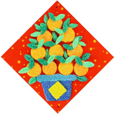 Chinese New Year Kids Beady Foam Clay Canvas Kit Craft - Mandarin Orange