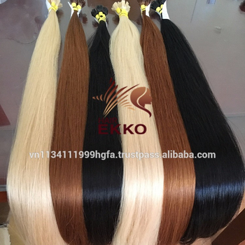 "Wholesaler High quality Pre-bonded hair human virgin hair colored straight hair 40"" 100 wires/lot vtips fusion tape"