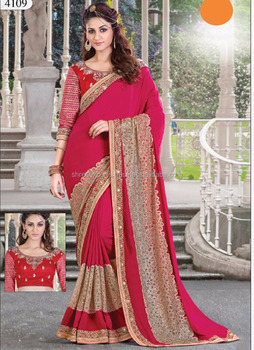 Red Satin Silk Designer Saree / Sarees for Sale Online / New Sarees Collection Online Shopping